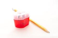Blyertspenna och blyertspennasharpener Royaltyfri Foto