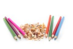 Blyertspenna- och blyertspennashavings Arkivbilder