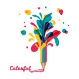 Blyertspenna och färgrika färgstänk omkring Arkivfoton