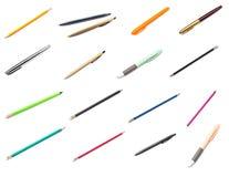 Blyertspenna- och pennsamling som isoleras på vit royaltyfri foto