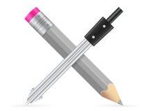 Blyertspenna och teckningskompass Royaltyfria Foton