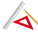 Blyertspenna och två linjaler. Vektorillustration Vektor Illustrationer