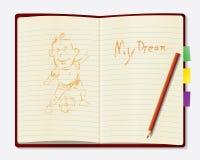 Blyertspenna på den öppna tappningboken Arkivbild