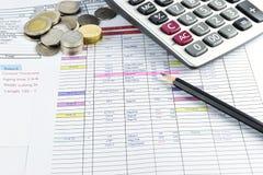 Blyertspenna, pengar och räknemaskin som förläggas på dokument Arkivbild
