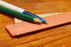 Blyertspenna, penna och linjaler Royaltyfri Fotografi