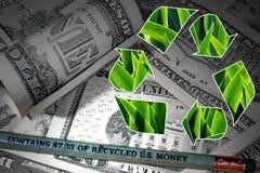 Blyertspenna som göras av återanvänd U S abstrakt finansiell bakgrundssedeldollar Arkivfoto