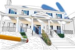 Blyertspenna som raderar teckningen för att avslöja den färdiga Cutom husdesignen Pho royaltyfri foto