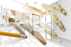 Blyertspenna som raderar teckningen för att avslöja det färdiga beställnings- badrumdesignfotoet royaltyfri bild