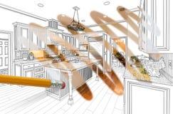 Blyertspenna som raderar teckningen för att avslöja färdig beställnings- kökdesign royaltyfri fotografi
