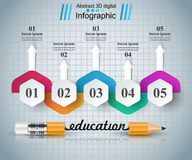 Blyertspenna utbildningssymbol Affär Infographic stock illustrationer