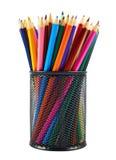 Blyertspennahållare mycket av blyertspennor Royaltyfri Bild