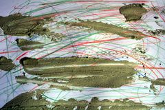 Blyertspennalinjer och smutsig gyttja, abstrakt bakgrund Royaltyfri Bild