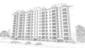 blyertspennan 3d skissar illustrationen av en modern flervånings- byggnads- och bilparkering Royaltyfri Foto