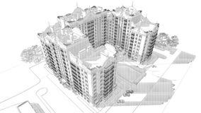 blyertspennan 3d skissar illustrationen av en modern flervånings- design för byggnadsyttersida- och gårdlandskap Fotografering för Bildbyråer