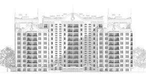 blyertspennan 3d skissar illustrationen av en modern flervånings- design för byggnadsyttersida- och gårdlandskap Arkivbilder