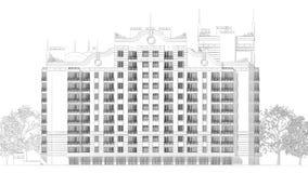 blyertspennan 3d skissar illustrationen av en modern flervånings- design för byggnadsyttersida- och gårdlandskap Arkivfoton