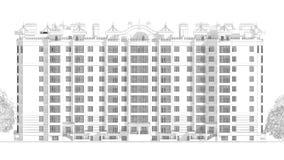 blyertspennan 3d skissar illustrationen av en modern flervånings- design för byggnadsyttersida- och gårdlandskap Royaltyfri Bild