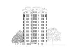 blyertspennan 3d skissar illustrationen av en modern flervånings- design för byggnadsyttersida- och gårdlandskap Royaltyfri Foto