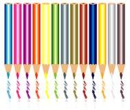 Blyertspennan färgar vektorn Arkivfoton
