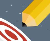 Blyertspennan Rocket Lunch i utrymme går att uppsätta som mål idérikt Startup begrepp Royaltyfria Bilder