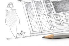 Blyertspennan skissar av en fred av vardagsrummöblemang med blyertspennan Fotografering för Bildbyråer