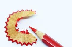 blyertspennan vässade wood shavings Royaltyfri Bild