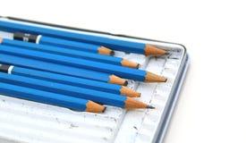 blyertspennasamlingsnärbild isolerat Arkivbild