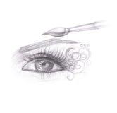 Blyertspennateckning av ögonmakeup Arkivbild