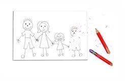 Blyertspennateckning av familjen med den raderade pojken Royaltyfri Foto