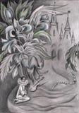 Blyertspennateckning med den pierrotblommor och slotten Royaltyfria Bilder