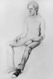Blyertspennateckning (modell, människa, den Anatomic teckningen) Arkivbild
