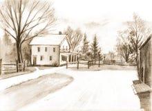 Blyertspennateckning på papper av det halva väghuset Svart liten vik Pione royaltyfri illustrationer
