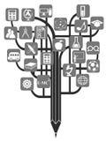 Blyertspennaträd för utbildning Royaltyfria Bilder