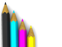 blyertspennor för cmyk 3d Fotografering för Bildbyråer