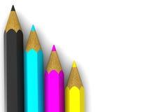 blyertspennor för cmyk 3d Arkivfoto