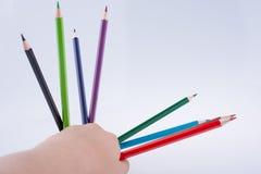 Blyertspennor för handinnehavfärg över en anteckningsbok Fotografering för Bildbyråer