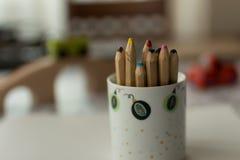 Blyertspennor i kopp Royaltyfri Fotografi