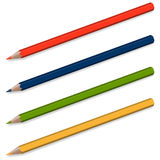 4 blyertspennor med skugga Arkivbilder