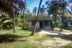 blygsamt hus av den fattiga indiern bland gamla kokosnötpalmträd Arkivfoto