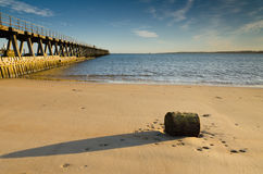 Blyth beach and south pier Stock Image