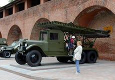 BM-13卡秋沙是火箭火炮苏联作战机器  军用设备的陈列在下诺夫哥罗德克里姆林宫 免版税库存图片