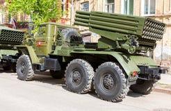 BM-21 absolwent 122 mm wielokrotności wyrzutnia rakietowa Obrazy Royalty Free