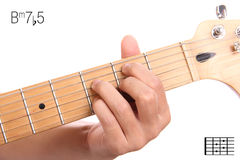 Bm7b5 guitar chord tutorial Royalty Free Stock Photo
