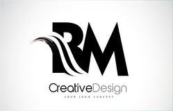 BM B M Creative Brush Black Letters Design With Swoosh Stock Image