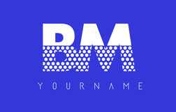 BM B M Dotted Letter Logo Design con el fondo azul Fotografía de archivo