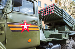 BM-21 Grad 122-mm Multiple Rocket Launcher on Ural-375D chassis Stock Images