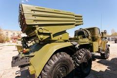 BM-21 Grad 122 mm Veelvoudig Rocket Launcher stock foto's