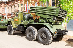 BM-21 Grad 122 mm Veelvoudig Rocket Launcher op ural-375D chassis royalty-vrije stock afbeeldingen