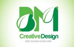 BM Green Leaf Letter Design Logo. Eco Bio Leaf Letter Icon Illus Stock Photography