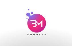 BM Letter Dots Logo Design with Creative Trendy Bubbles. BM Letter Dots Logo Design with Creative Trendy Bubbles and Purple Magenta Colors royalty free illustration